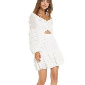 Misa Los Angeles White Anahi Tiered Skirt Size Extra Small
